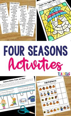 Help your students learn about the four seasons with these activities. Your students will learn about winter, spring, summer, and fall with these fun, printable pages. These worksheets are perfect if you're teaching preschool, prek, or kindergarten students. They can be used with small groups, in literacy centers, for morning work, and independent practice.