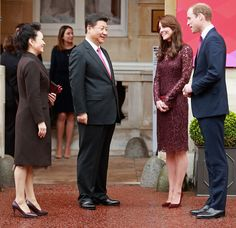 Prince William, Duke of Cambridge and Catherine, Duchess of Cambridge welcome the President of the Peoples Republic of China, Mr Xi Jinping and his wife, Madame Peng Liyuan at a GREAT Britain Creative Event at Lancaster House on October 21, 2015 in London
