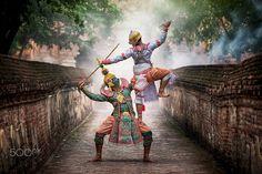 Ramayana epic - Thailand culture dancing art in masked Khon hanuman that high classical of dance in Ayutthaya Thailand.