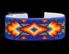 This is an authentic Native American cuff bracelet. Created with intricate hand beading on a flexible band, this traditional Navajo jewelry is very well made. With a hand stitched cloth backing on the