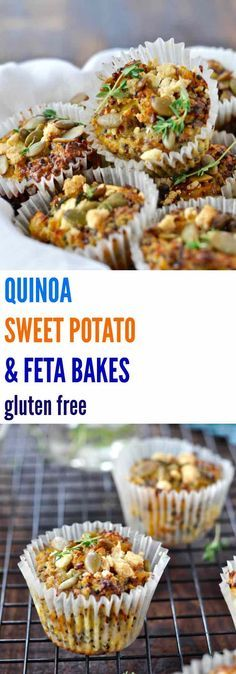 These healthy QUINOA, SWEET POTATO & FETA BAKES are gluten free and freeze perfectly. Great for breakfast, lunch boxes and snacking!   Plus Ate Six