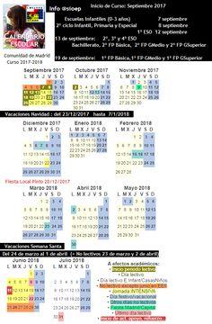 Calendario Escolar 2017-2018 #Madrid Incluidos Días No lectivos, Festivos y #Vacaciones de #Navidad y #SemanaSanta Periodic Table, Baccalaureate, School Calendar, Special Education, Vacations, Periodic Table Chart