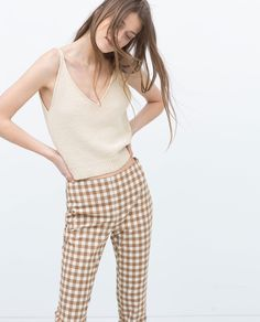 ZARA - NEW THIS WEEK - CHECKED SKINNY TROUSERS