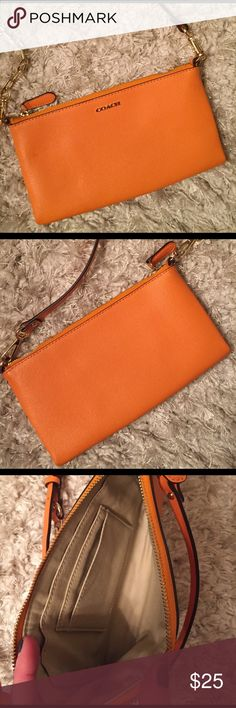 Orange Coach purse Only been used a handful of times, detachable and adjustable strap. Coach Bags Crossbody Bags