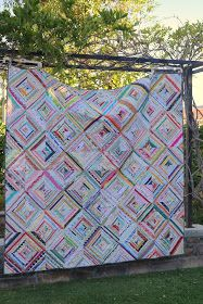 Each square quilt block is simply the selvages pieced together on a 45 degree angle.