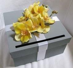 Wedding Card Box Gray with Yellow Orchids You Can Customize Colors and Flowers