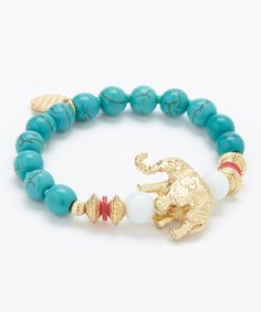 Turquoise & White Elephant Stretch Bracelet