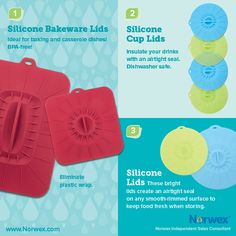 Norwex (1) Silicone Bakeware Lids, (2) Silicone Cup Lids, (3) Silicone Lids. For Facebook parties, online events and marketing.