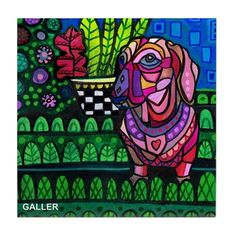 Dachshund art Doxie Tile Ceramic Coaster Print by HeatherGallerArt
