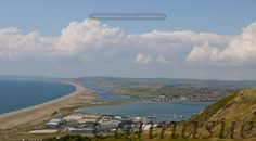 View out over Portland towards Chesil beach and Weymouth.