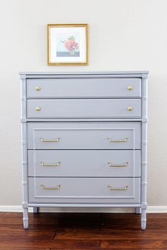Vintage Light Gray Faux Bamboo Dresser  Hollywood by nattybydesign, $520.00