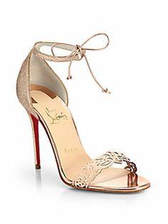 Christian Louboutin - Valnina Cutout Leather & Glitter Sandals