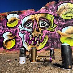 Today at #kolhamnen#norrköping#graffiti#graff#instagraffiti#montana#cans#spray#art#streetart#skull#tonyb