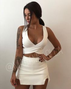 Tattoo For Women Sexys Swimsuits Ideas Clubbing Outfits, Night Outfits, Summer Outfits, White Outfits, Trendy Outfits, Fashion Outfits, Sexy Dresses, Casual Dresses, Fiesta Outfit