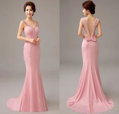 Cheap mermaid evening dress, Buy Quality evening dress directly from China evening dress with pearl Suppliers: Pretty 2017 New Pink Mermaid Evening Dress with Pearls and Bow Formal Evening Gowns Long Party Dresses with Train Vestido Pink Evening Gowns, Mermaid Evening Dresses, Mermaid Bridesmaid Dresses, Prom Dresses, Formal Dresses, Dresses Short, Pearl Dress, Party Gowns, Beautiful Dresses