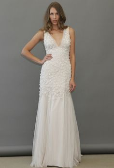 Brides: Jim Hjelm - Spring 2013. Sleeveless organza V-neck sheath wedding dress with floral details on the bodice, Jim Hjelm