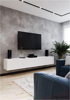 Custom Design TV Wall Tips For The Living Room ~ kliksaya. Living Room Grey, Small Living Rooms, Home Living Room, Living Room Decor, Modern Living, Minimalist Living, Modern Tv Room, Home Room Design, House Design