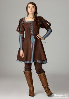 Misses Medieval Dress Costume - This pattern comes in two lengths…