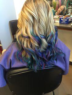 oil slick tips on blonde hair