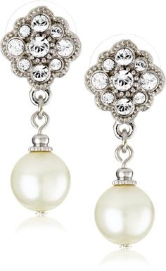1928 Bridal Amore Dazzling Pearl Drop Earrings - The price dropped Pearl Drop Earrings, Bridal Earrings, Dangle Earrings, White Earrings, Vintage Earrings, Jewelry Gifts, Jewelery, Bridal Accessories, Wedding Jewelry