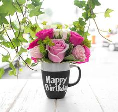 flowers, happy birthday, and pink image Happt Birthday, Happy Birthday Notes, Happy Birthday Wishes Images, Happy Anniversary Wishes, Happy Birthday Flower, Happy Birthday Pictures, Happy Birthday Greetings, Birthday Messages, Birthday Angel