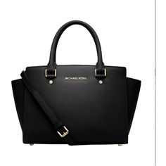Pre-owned Michael Kors Selma Medium Black/gold Satchel ($215) ❤ liked on Polyvore featuring bags, handbags, buckle purses, pre owned handbags, michael kors satchel, black gold purse and travel handbags