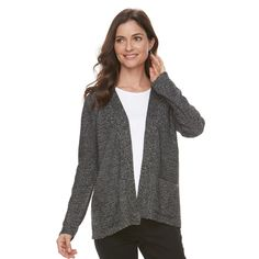 Women's Croft & Barrow® Textured Cardigan Sweater, Size: Medium, Light Grey