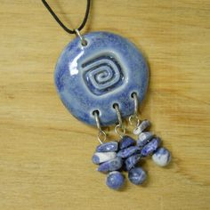 Square Spiral Tribal Ceramic Pendant with by celticsouljewelry, $18.00