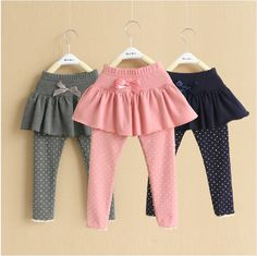 Autumn Korean Style Dot Pantskirt Boys Girls Cotto … – About Children's Clothing Little Girl Outfits, Toddler Outfits, Kids Outfits, Toddler Girls, Baby Girl Fashion, Kids Fashion, Fashion Outfits, Baby Dress Design, Baby Pants