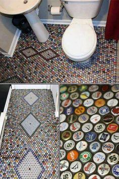 Bottle caps floor- would be awesome for a bar area
