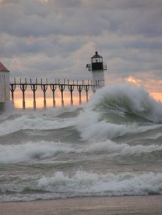 Hurricane Sandy - Lake Michigan.  (A hurricane in the Great Lakes?  Wow.  Bet the surfers loved the waves.  NLP)