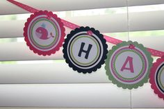 Preppy Whale Birthday Party Banner - Any color or theme - girl or boy