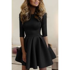 Yoins Casual Round Neck Mini Tight-waist Dress in Black ($23) ❤ liked on Polyvore featuring dresses, black, sleeve party dresses, sleeved dresses, short sleeve dress, holiday party dresses and mini party dresses