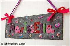 door sign for girls pink purple glittery