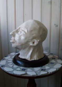 vintage pottery sculpture  head of man by lookonmytreasures, $85.00