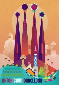 Gaudi Barcelone grand Giclée numérique tirage par GraffikHeart
