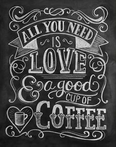 Love Coffee Chalkboard Art Print