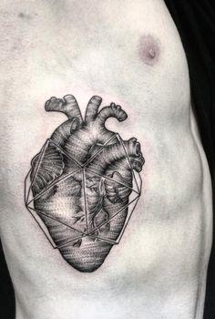 Linear dotwork heart by Zeke Yip
