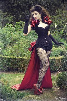 Burlesque LA ESMARELDA Steampunk  Long Satin   Luxe Saloon Bustle By Gothic Burlesque. $120.00, via Etsy.