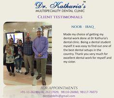 Have a look at Dr.Kathuria's Multispeciality Dental Clinic's patient testimonials. #DentalClinic #Testimonials #DentalSetUp