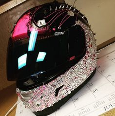 Helmet Designs- How to BLING the crap out of your Helmet. Pink Motorcycle, Motorcycle Helmet Design, Womens Motorcycle Helmets, Motorcycle Types, Motorcycle Travel, Racing Helmets, Suzuki Motorcycle, Custom Motorcycles, Custom Bikes