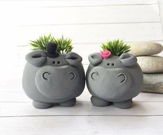 Excited to share this item from my etsy shop hippo planters couple gift hippopotamus figurine planter set cute succulent planter hippopotamus gift animal plant pots mini Pottery Animals, Ceramic Animals, Clay Animals, Ceramic Art, Diy Clay, Clay Crafts, Mini Vasos, Succulent Pots, Plant Pots