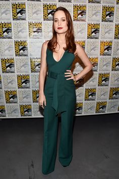 Brie Larson slayed at Comic-Con in an on-trend jumpsuit by Gabriela Hearst and Stuart Weitzman platform sandals while promoting her starring role in Marvel's first-ever female led film.