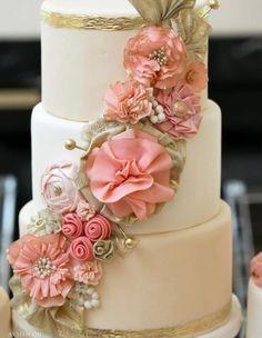 fabric flower cake