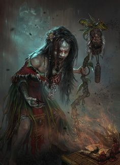 Andrei Pervukhin Concept Art and Illustration Witch Voodoo Dark Fantasy Art, Fantasy Kunst, Fantasy Rpg, Fantasy Artwork, Dark Art, Fantasy Witch, Fantasy Paintings, Digital Art Illustration, Witch Doctor