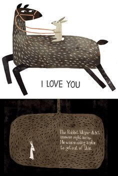 Illustration(s) from The Rabbit Mayor by Jon Klassen. Sometimes I, too, feel like a stuck bunny in need of a plan. :s