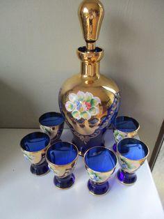Vintage Czech Bohemian Venetian Bristol Blue Glass H/Painted Decanter Glasses 6