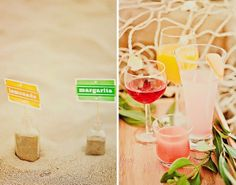 love the idea of using sand in a jar to hold food and drink labels for a nautical or beach party
