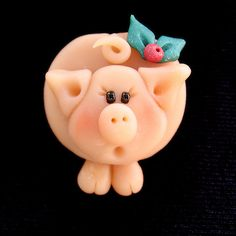 *POLYMER CLAY ~ Christmas Pig Pin by Clayin' Around, via Flickr