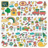 Векторный набор детский сад изображения